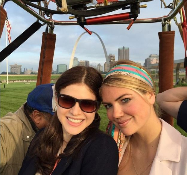 Kate Upton and Alexandra Daddario the Layover st louis drone filming in balloon