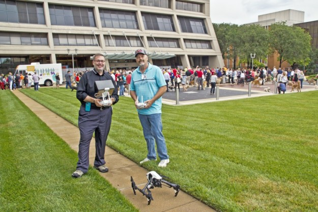 Rob Haller and Dave Topping prepare for Nestle Purina aerial photograph world record take your dog to work day 2015.